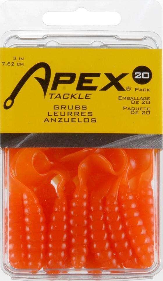 "Apex 3/"" Grub Tail Soft Plastics 20 a Pack"