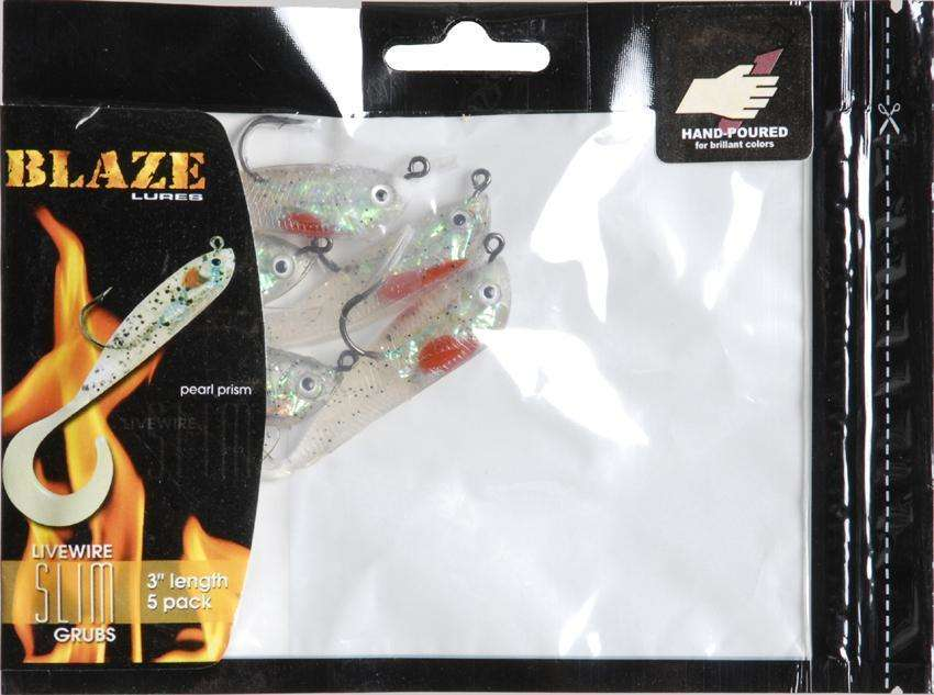 blaze lures pearl prism live wire slim grubs 5 pack 3'' - fishing, Hard Baits