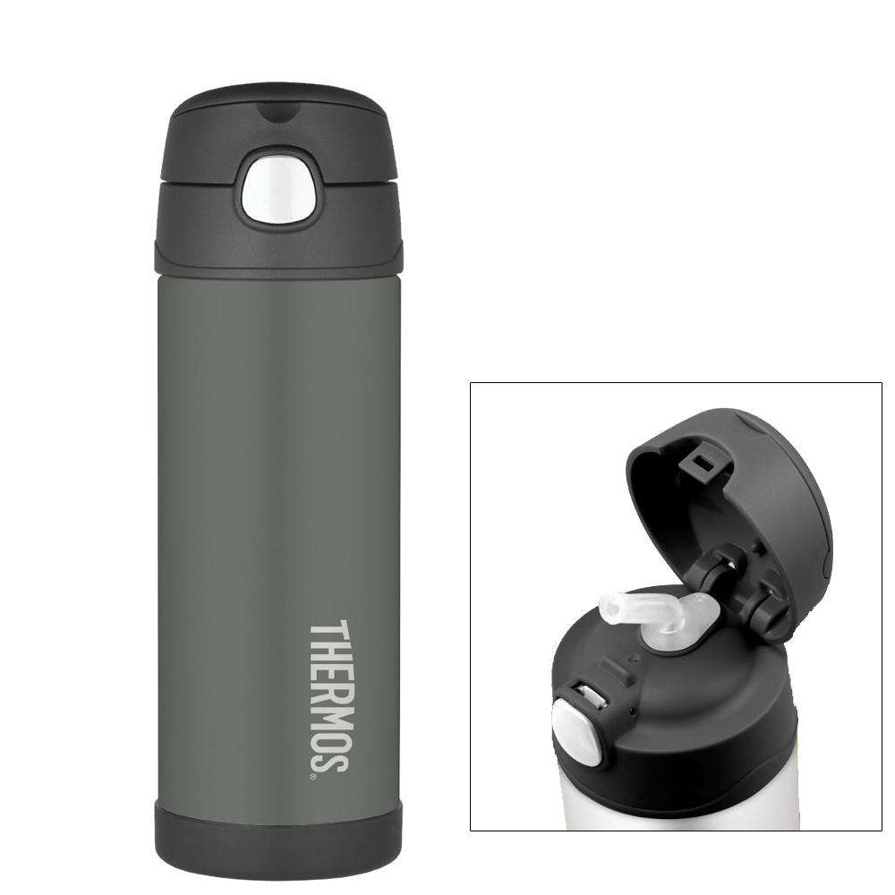 Charcoal Funtainer Ss Insulated Straw Bottle 16 Ounce