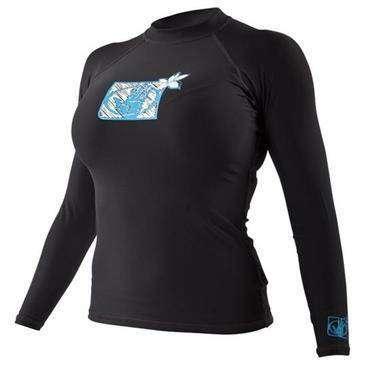 BODY GLOVE Black Fitted Rashguard Womens Long Sleeve Shirt Large - UV Protection