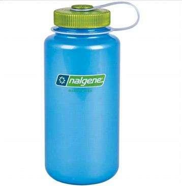 e785e2d4b Nalgene Sky Blue w/Green Lid Wide Mouth 1 Quart Water Bottle - Bpa Free