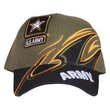 57a7e4596ea41 Olive Drab Green Black Embroidered Shark Fin U.S. Army Ball Cap - Hook    Loop Back
