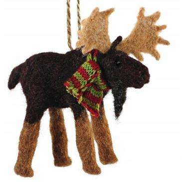 outside inside felted moose ornament 100 pure wooldecorationschristmas - Christmas Moose Decorations