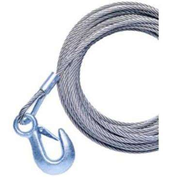 Powerwinch 20' x 7/32'' Replacement Galvanized Cable w/Hook For/215, 315 & T1650