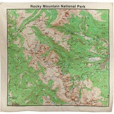 Topographic Map Mountain.Rocky Mountain National Park Topographic Map Bandana 100 Cotton