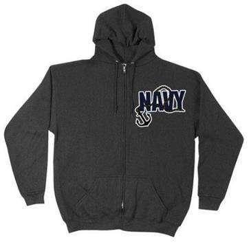 Fox Outdoor Black Navy Anchor Men'S Hooded/Zip Front Sweatshirt