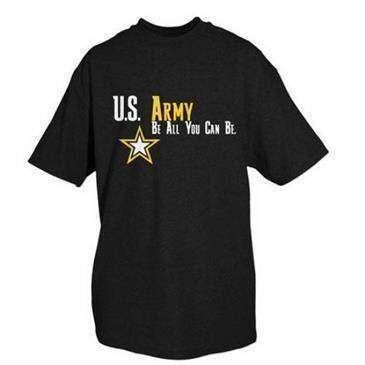 Fox Outdoor Black U.S. Army One Sided Imprinted Logo T-Shirt