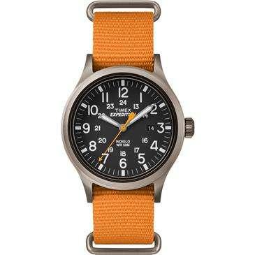 Beautiful Timex Expedition Scout Orange Slip Thru Watch   Indiglo Night Light