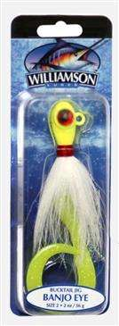 Generic Williamson Chartreuse/White Banjo Eye Jig 2 Ounce - Excels When Vertical Jigging