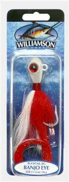 Generic Williamson Red/White Banjo Eye Jig 2 Ounce - Excels When Vertical Jigging