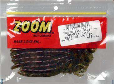 Zoom Shakey Tail Bait-pack of 20 Watermelon Red 6in for sale online