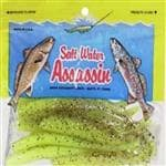 Bass Assassin Lures Chartreuse Salt Water Split Shad 10 Per Pack - Realistic Soft