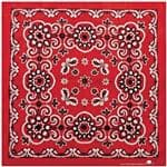 Carolina Manuf Red Texas Paisley Bandana - 27'' x 27'', Made Of 100% Cotton