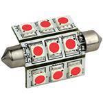Lunasea Lighting Lunasea Red Pointed Festoon 9 LED Light Bulb 42mm - High Powered