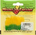 Mister Twister Lime/Black Flake Yellow Tail Mini Tube Bait 10 Pack - Lifelike
